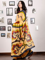 Yellow Black Red Olive Green Block Printed & Hand Painted Cotton Mul Saree - S031702928