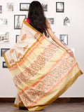 Beige Mustard Coral Green Hand Block Printed Cotton Saree In Natural Colors - S031702929