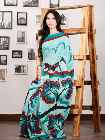 Sky Blue Maroon Black Green Block Printed & Hand Painted Cotton Mul Saree - S031702932