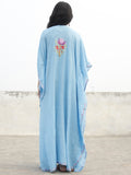 Sky Blue with Multi color Aari Embroidered Long Kashmere Free Size Kaftan in Crushed Cotton - K11K009