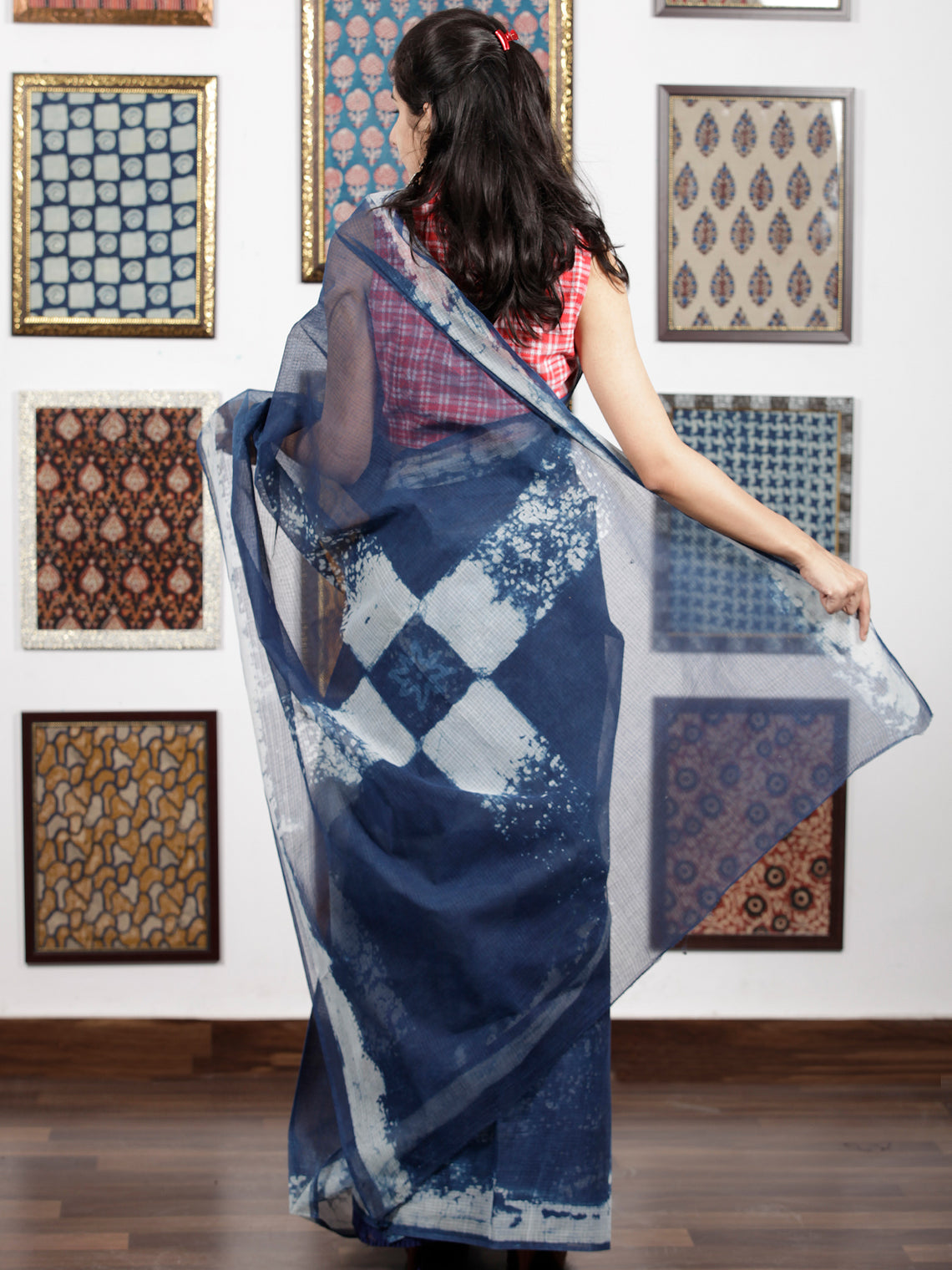 Indigo White Hand Block Printed Kota Doria Saree in Natural Colors - S031703090
