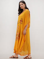 Yellow Multicolor Aari Embroidered Kashmere Free Size Georgette Kaftan  - K12K005