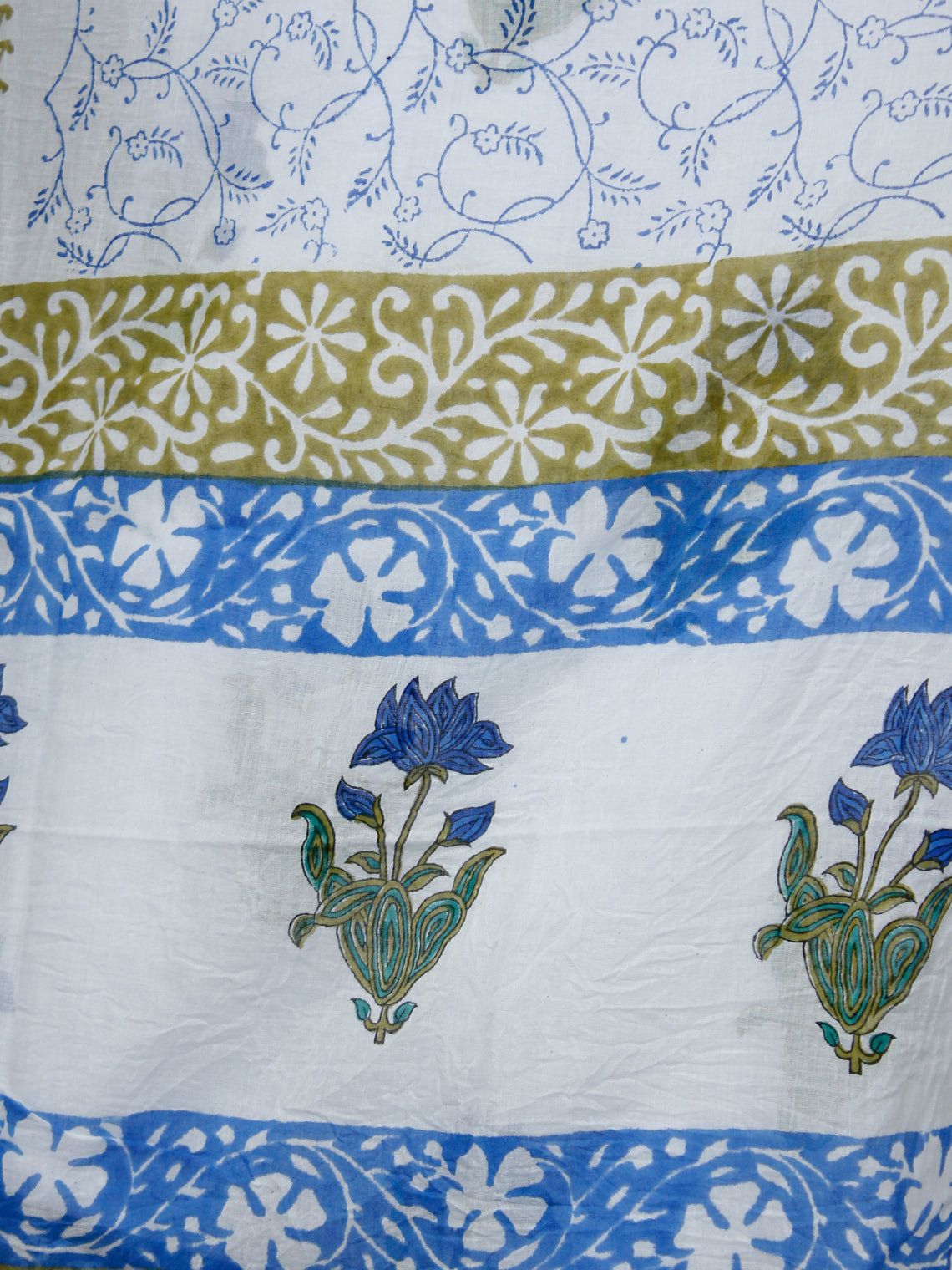 White Blue Green Cotton Block Printed Suit - Set of 3 - SS01F009