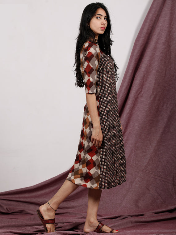 Beige Light Brown Maroon Hand Block Printed Midi Length Dress With Side Pockets - D222F1323