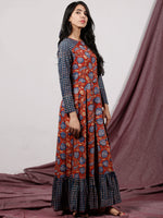 Red Indigo Ivory Hand Block Printed Long Cotton Dress With Box Pleats - D184F1310