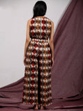 Beige Brown Maroon Handblock Printed  Cotton Jumpsuit With Back Zip And Waist Elastic -  D234F1323