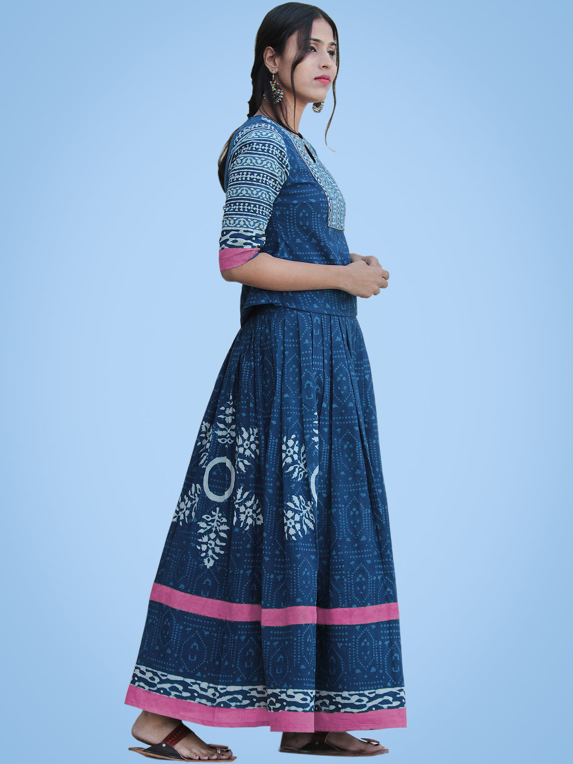 Naaz Rukshaar - Hand Block Printed Long Top And Skirt Dress - DS79F003