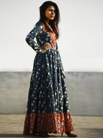 Indigo Black Red Ivory Long Hand Block Cotton Tier Dress  - D139F1081