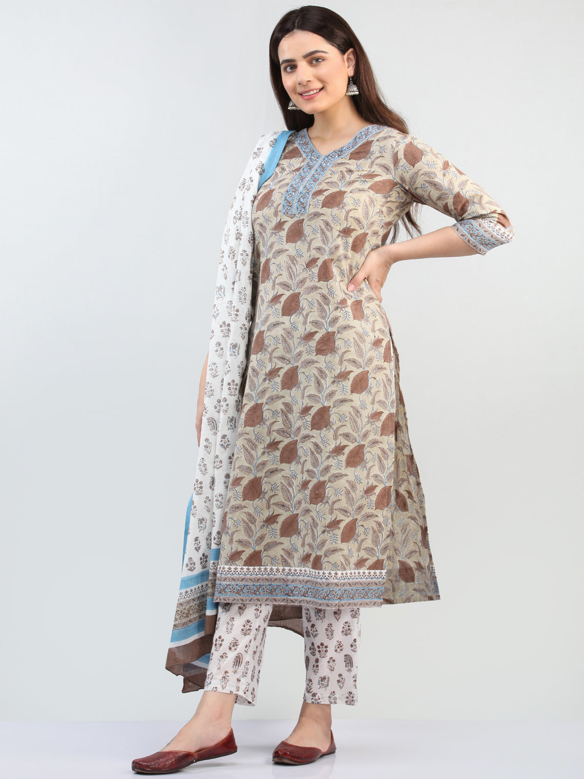 Zohra Muskan - Set of Kurta Pants & Dupatta - KS12B2501D