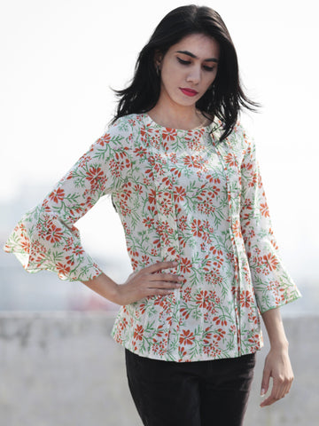 White Green Orange Hand Block Printed Cotton Top With Pleat Details - T23F263