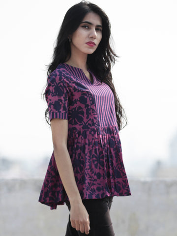 Megenta Purple  Hand Block Printed Cotton Top With Gathers - T32F466
