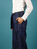 Black Blue Hand Woven Ikat Culottes Trousers With Belt- T032F945