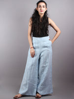 Linen light blue Elasticated Waist Pleated Cotton Palazzo - P1117086