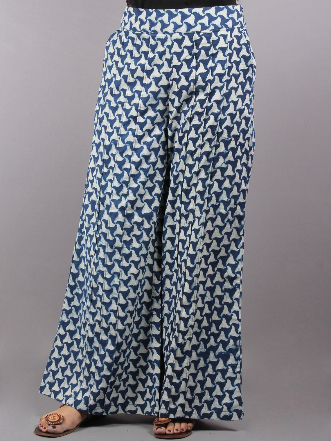 Indigo Hand Block Printed Elasticated Waist Pleated Cotton Palazzo - P1117058