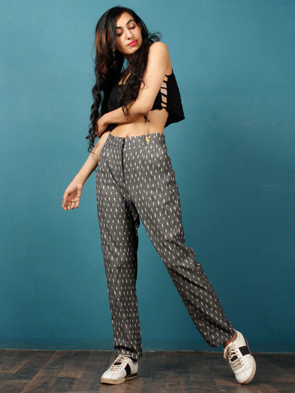 Gery White Hand Woven Ikat Trousers - T032F1254