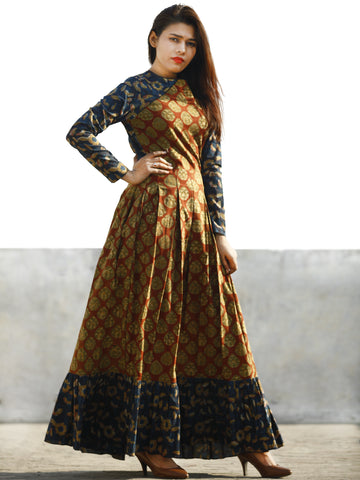 Maroon Rust Indigo Beige Hand Block Printed Long Cotton Dress With Box Pleats - D184F1137