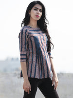 Indigo Red Grey Hand Block Printed Cotton Top - T34F394
