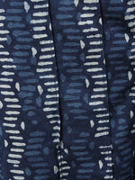 Indigo Hand Block Printed Elasticated Waist Pleated Cotton Palazzo - P1117082
