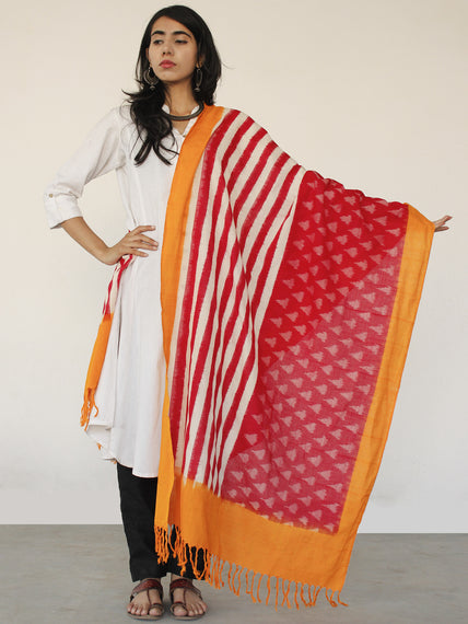 Orange White & Red Ikat Handwoven Pochampally Cotton Dupatta -  D04170151