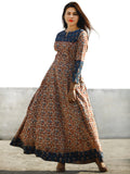 Beige Maroon Indigo Hand Block Printed Long Cotton Dress With Pin tucks Details  - D186F1133