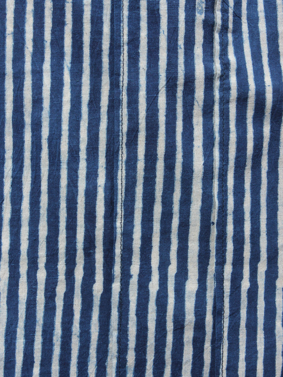 Indigo Hand Block Printed Elasticated Waist Pleated Cotton Palazzo - P1117055