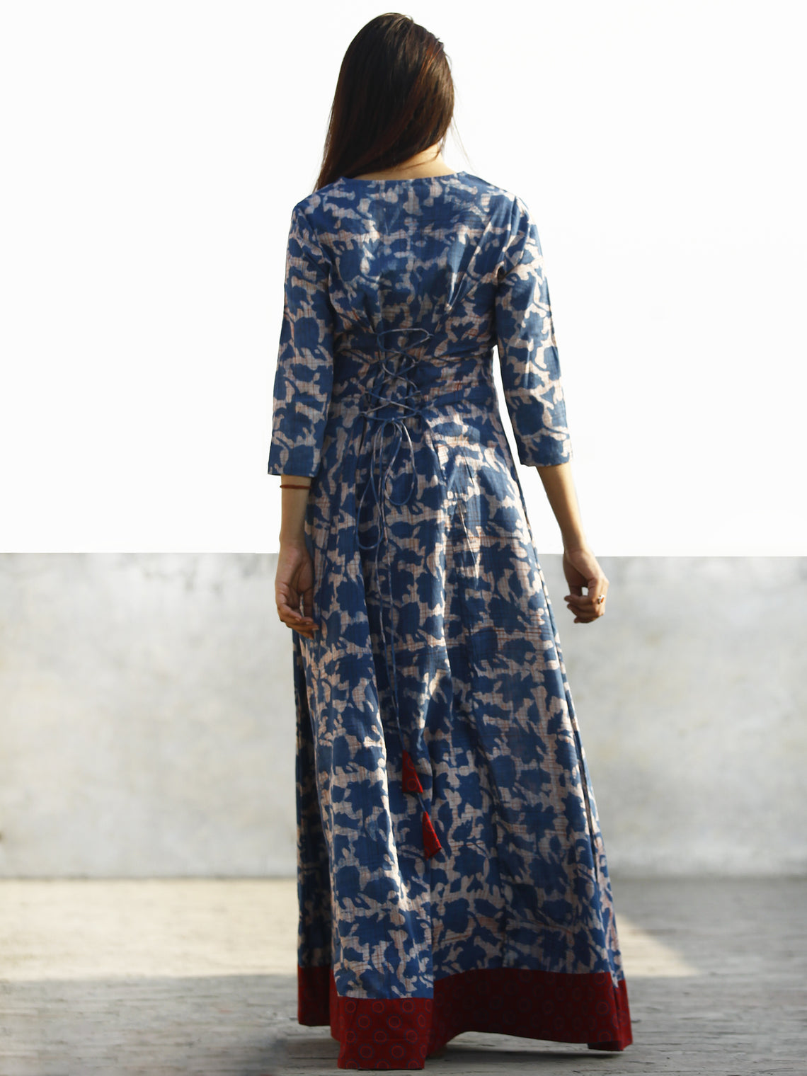 Nazmin - Hand Block Printed Long Cotton Dress With Back Knots - D162F775