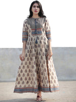 Naaz Beige Blue Maroon Black Hand Block Printed Long Cotton Dress with Tassels- DS02F004