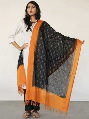 Rust Orange Black Ikat Handwoven Pochampally Cotton Dupatta -  D04170152