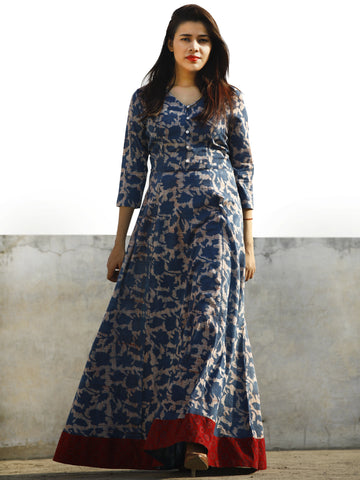 Indigo Ivory Rust Maroon Hand Block Printed Long Cotton Dress With Back Knots - D162F775