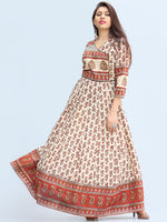 Naaz Ayma - Hand Block Printed Long Cotton Dress With Lining - DS15F003