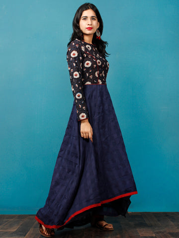 Indigo Brown Maroon Ivory Hand Block Printed Cotton Asymmetrical Dress - D216F1401