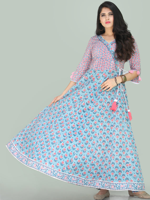 Gulzar Turfa - Hand Block Printed Angrakha Long Dress - D411F2223