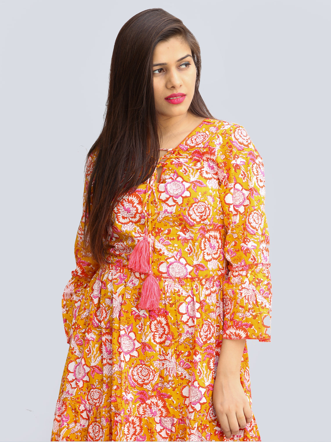 Fazna - Block Printed Cotton Midi Dress With Tassels - D425F2245