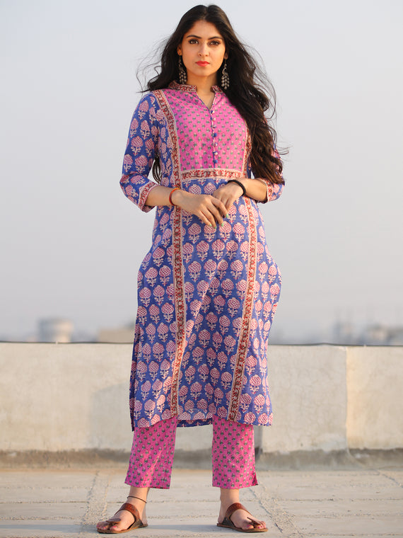 Raas Raga - Hand Block Printed Straight Kurta & Pants - KS60MX1091
