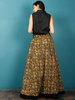 Black Mustard OliveGreen Beige Hand Block Printed Skirt With Border - S40F580