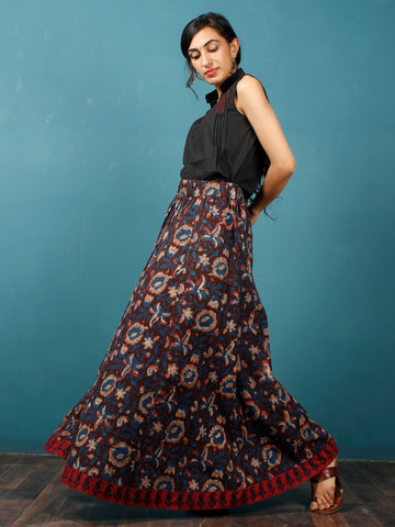 Brown Indigo Rust Beige Hand Block Printed Skirt With Maroon Ajrakh Border  - S40F613