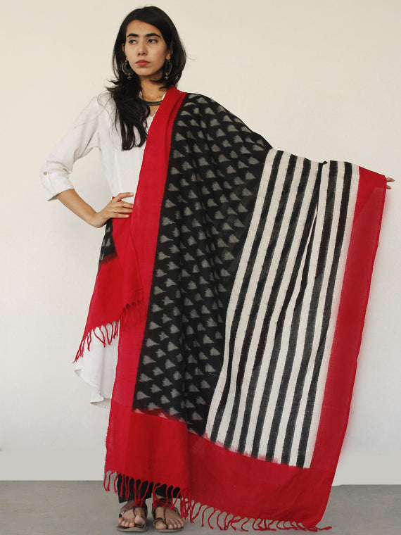 Red White & Black  Ikat Handwoven Pochampally Cotton Dupatta -  D04170155