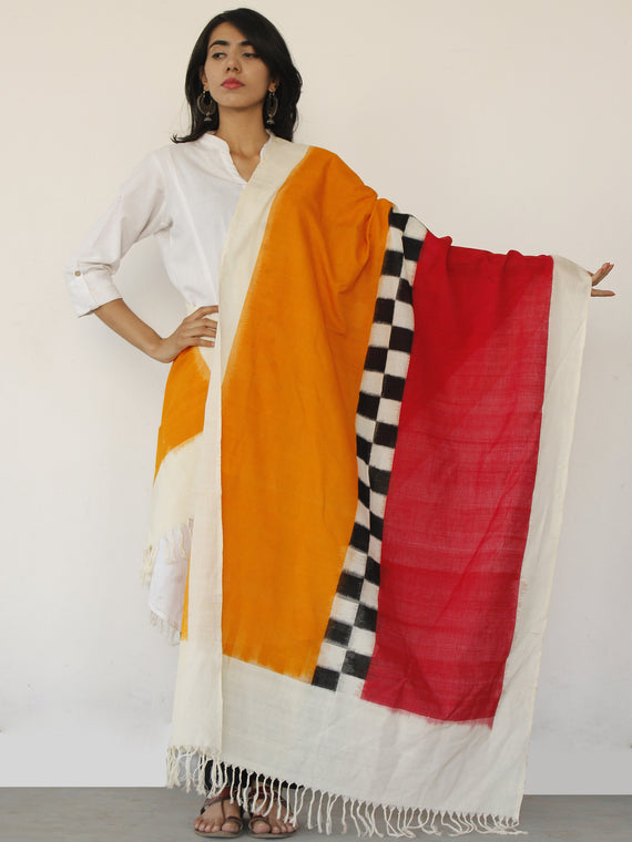 Ivory Red Orange Black Double Ikat Handwoven Pochampally Cotton Dupatta -  D04170140