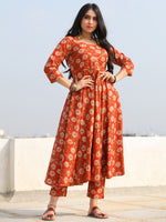 Raas Fanah - Red Block Printed Flared Kurta & Pants - KS88A2386