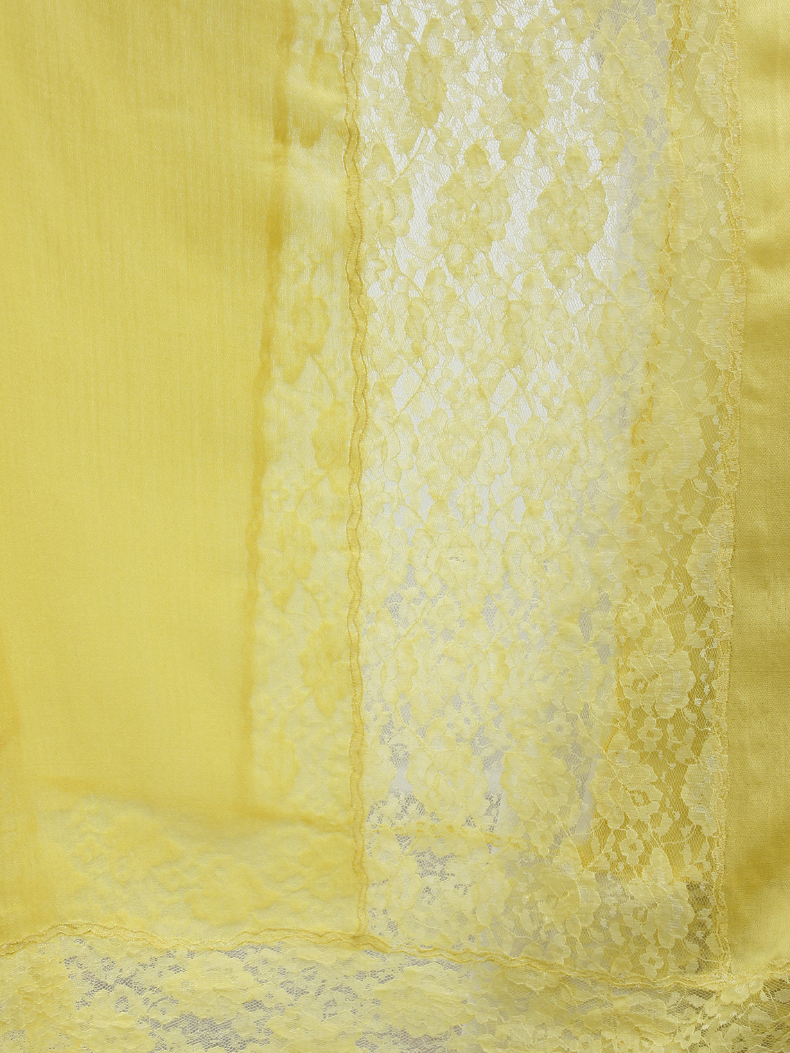 Yellow Lace Work Fine Woolen Cashmere Stole - S6317173