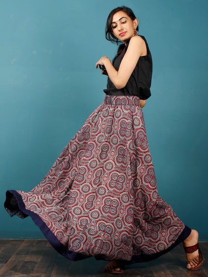Maroon Indigo Black Hand Block Printed Skirt With Border - S40F682