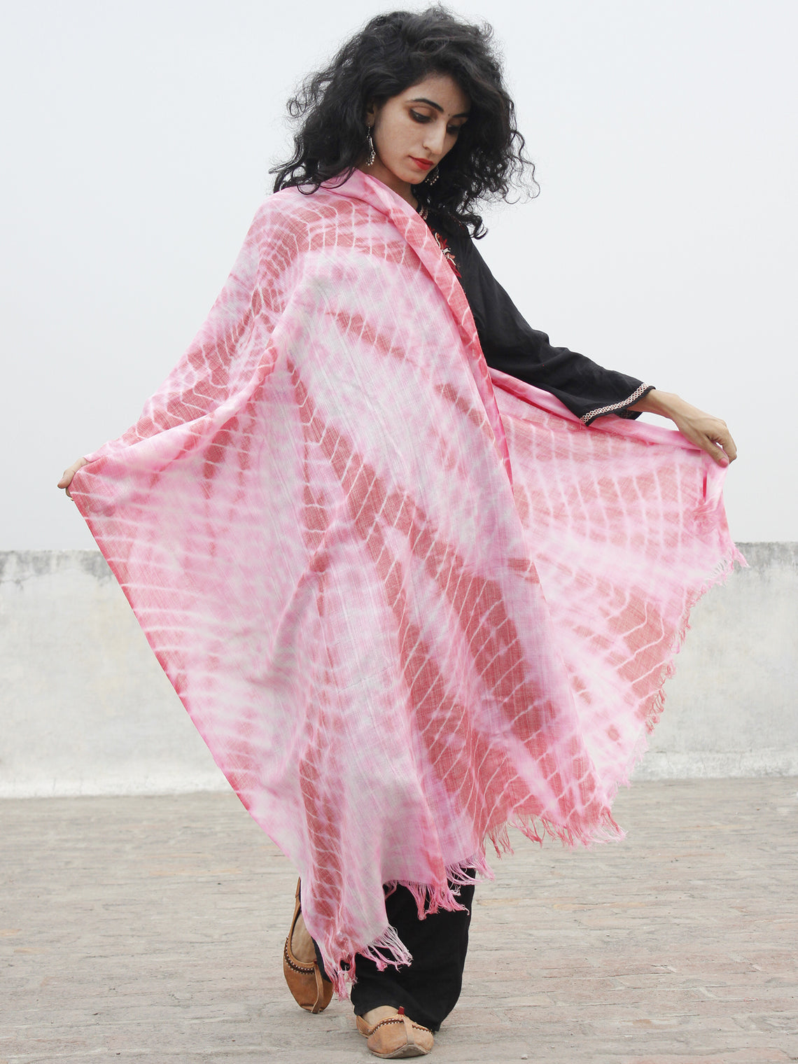 Pink Ivory Cashmere Semi Pashmina Woolen Tie & Dye Stole - S6317190