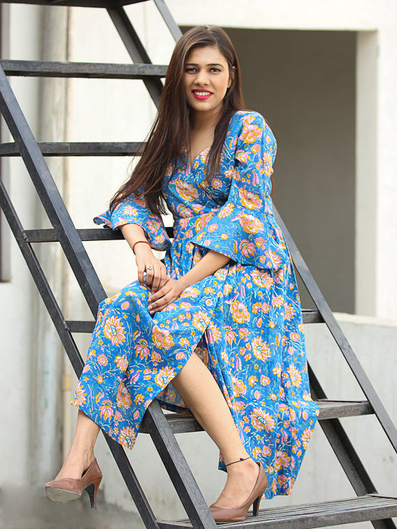 Gulrukh - Hand Block Printed Cotton Wrap Midi Dress With Bell Sleeves - D99F2281