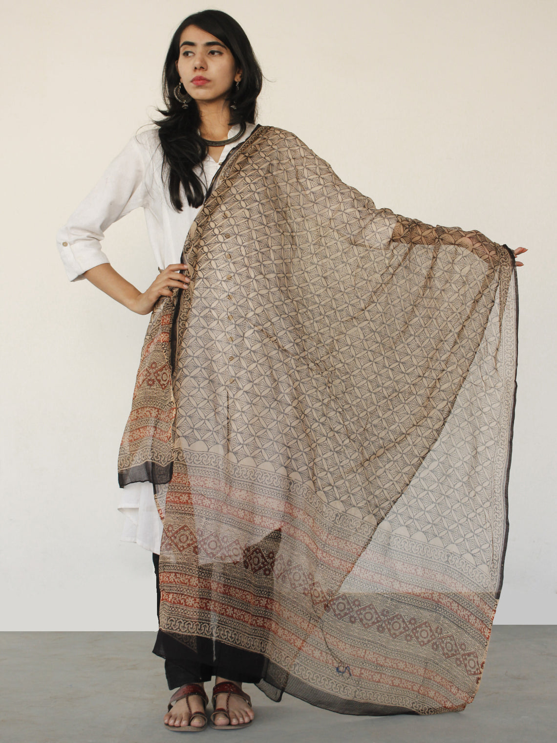 Beige Black Kota Doria Cotton Hand Black Printed Dupatta  - D04170160
