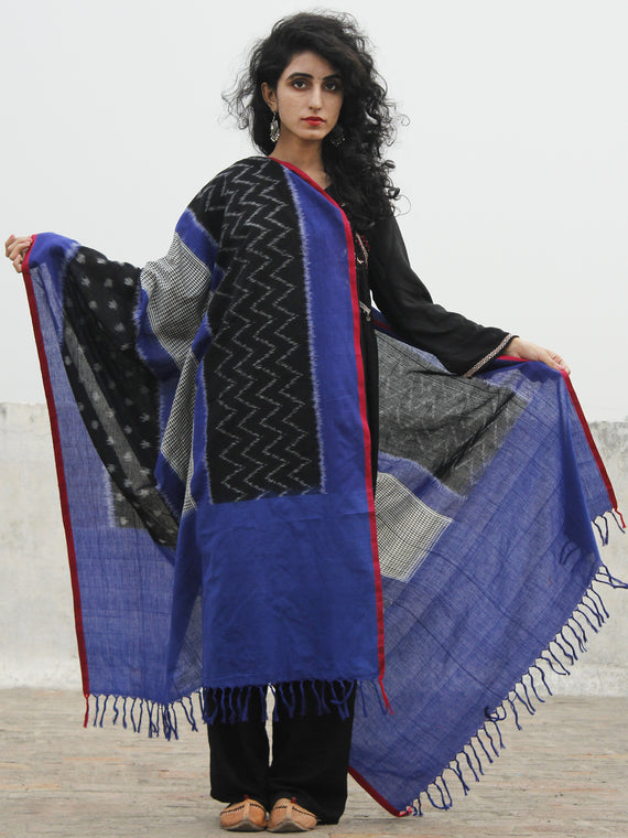 Blue Black White Maroon Ikat Handwoven Pochampally Cotton Dupatta -  D04170209