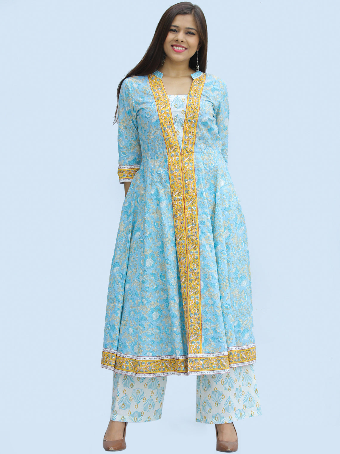Rangrez Hena - Set of Anarkali Kurta Palazzo & Dupatta - KS55A2307D
