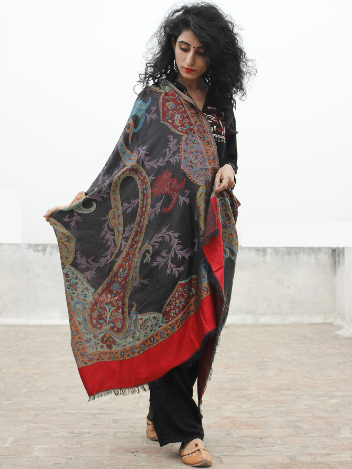 Black Maroon Green Blue Red Cashmere Jamawar Woven Modal Silk Stole - S6317182