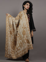 Beige Brown Aari Outlined With Checks Cashmere Shawl - S200505