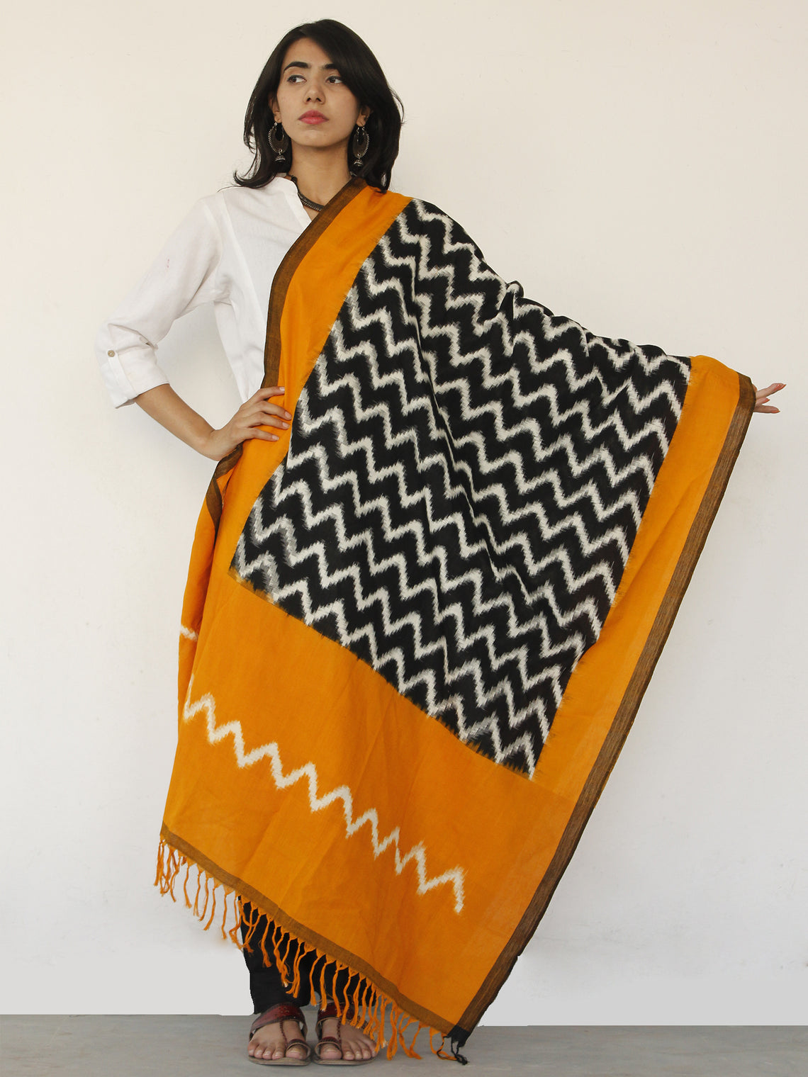 Mustard Yellow Black White Ikat Handwoven Pochampally Cotton Dupatta -  D04170142