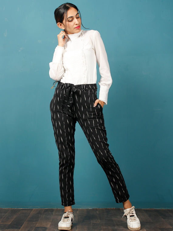 Black White Hand Woven Ikat Chinos Pants With Belt- T032F734